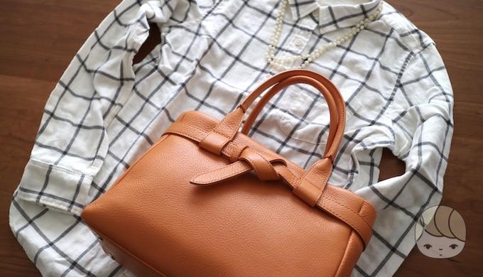 土屋鞄製造所「クラルテ ハンディカフェトート」スタイリング例(フランネルチェックシャツ)