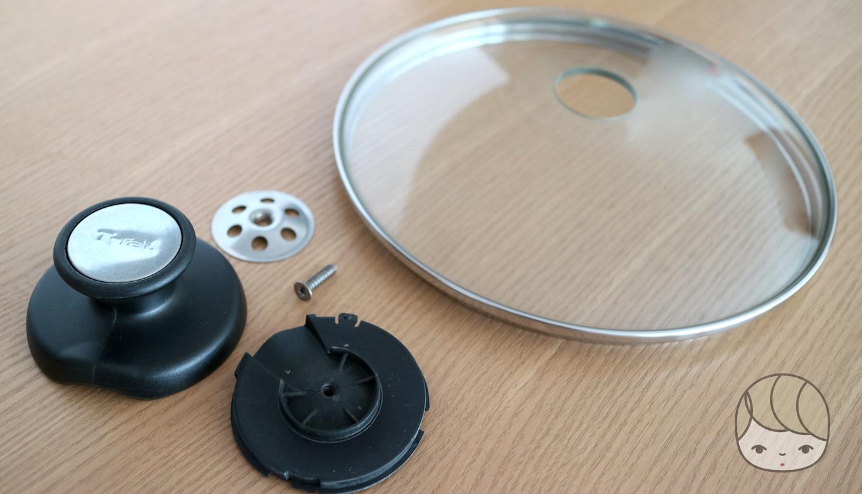 ガラス蓋(ティファール)の中心の穴が大きいためパール金属の鍋つまみと合わない